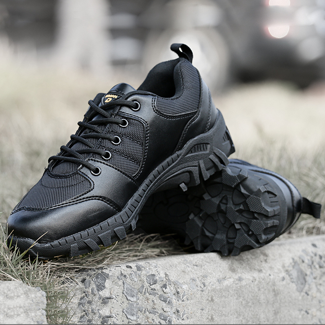Military Black Hiking Shoes Men Tactical Combat Army Boots Outdoor WalkingTraining Breathable Lightweight Shoes For Summer Mens