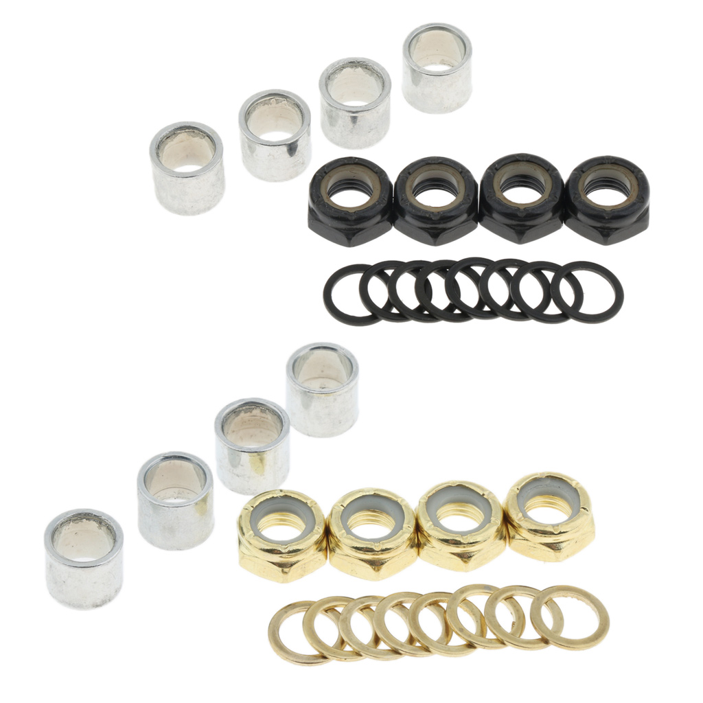 4Pcs Standard Skateboard Accessories Axle  Washer Bearing Spacer Nuts Speed Rings For Longboard Repair Rebuilding Kit