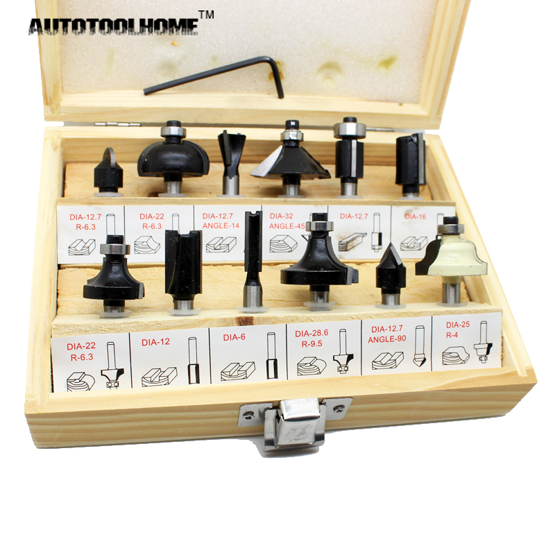 AUTOTOOLHOME 12pcs 1/4 Wood Router Bit Set Tungston Carbide Rotary Tool Wood Woodworking Drilling Drill Bits 1 2 5 8 round nose bit for wood slotting milling cutters woodworking router bits