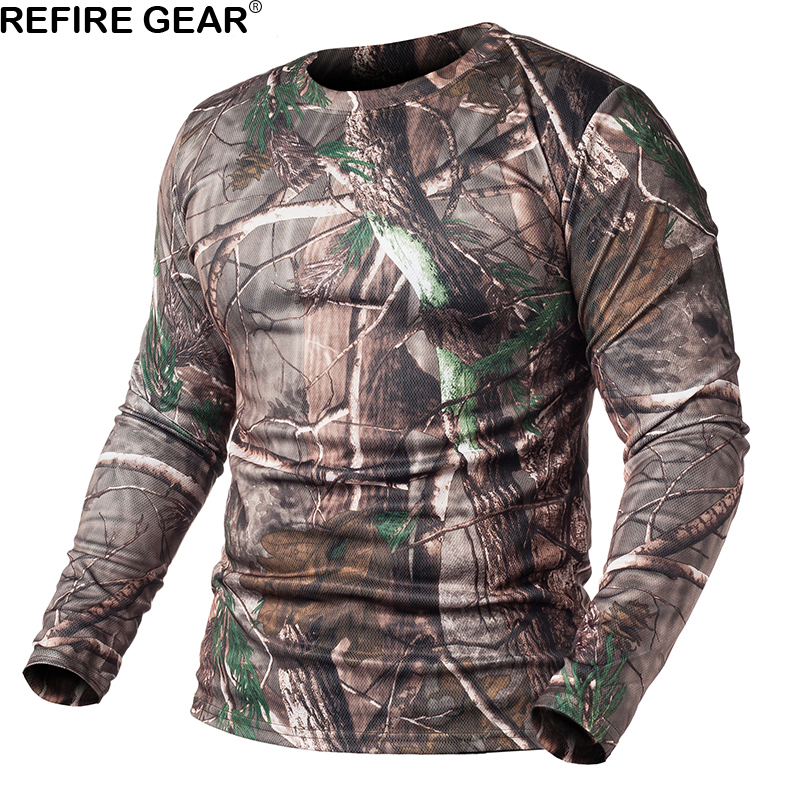 ReFire Gear Spring Long Sleeve Outdoor Camouflage T-shirt Men Quick Dry O Neck Camo T Shirt Hunting Hiking Camping Shirt breast pocket v neck long sleeve t shirt