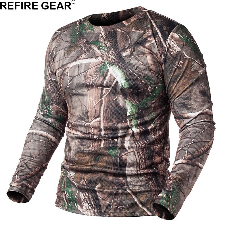 Refire engrenagem primavera manga longa camuflagem ao ar livre camisa masculina secagem rápida o pescoço camo t camisa caça caminhadas acampamento