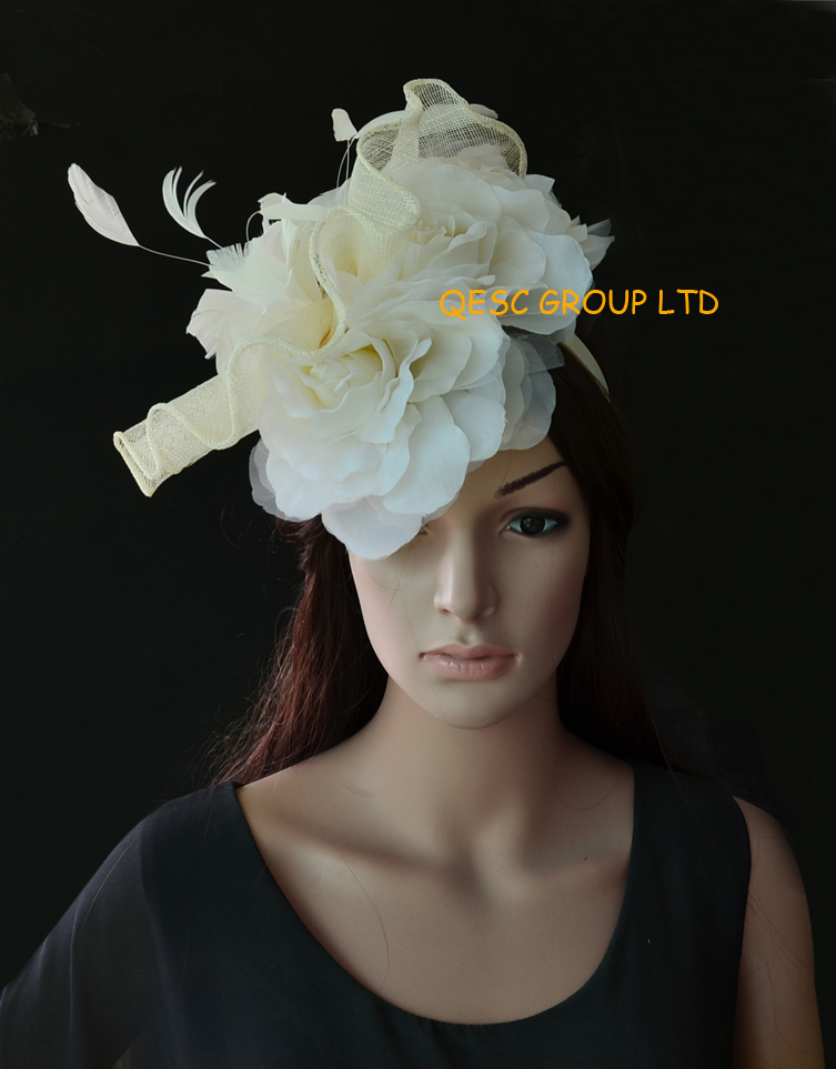 Ivory Cream Feather Fascinator Sinamay Hat Bridal With Flowers 3pcs Silk Flower In Hair Accessories From Women S Clothing
