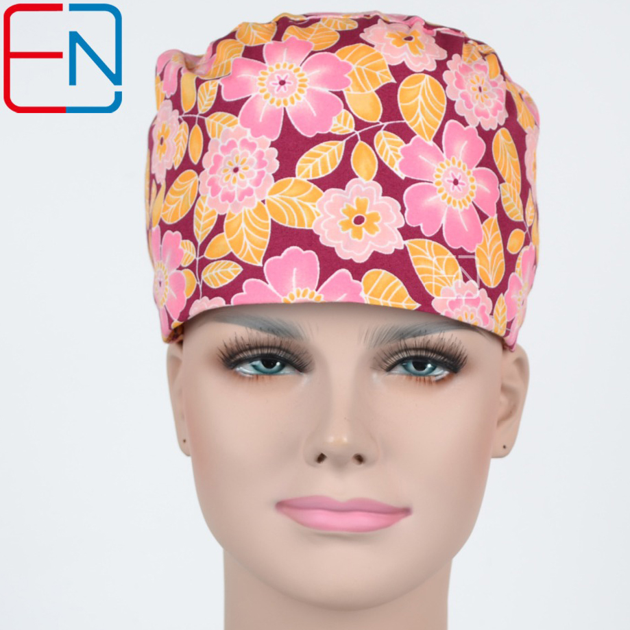 Hennar Surgical Medical Caps For Women Hot Sale Floral Operating Room Surgical Caps Colourful With Sweatband Cotton Doctor Hats