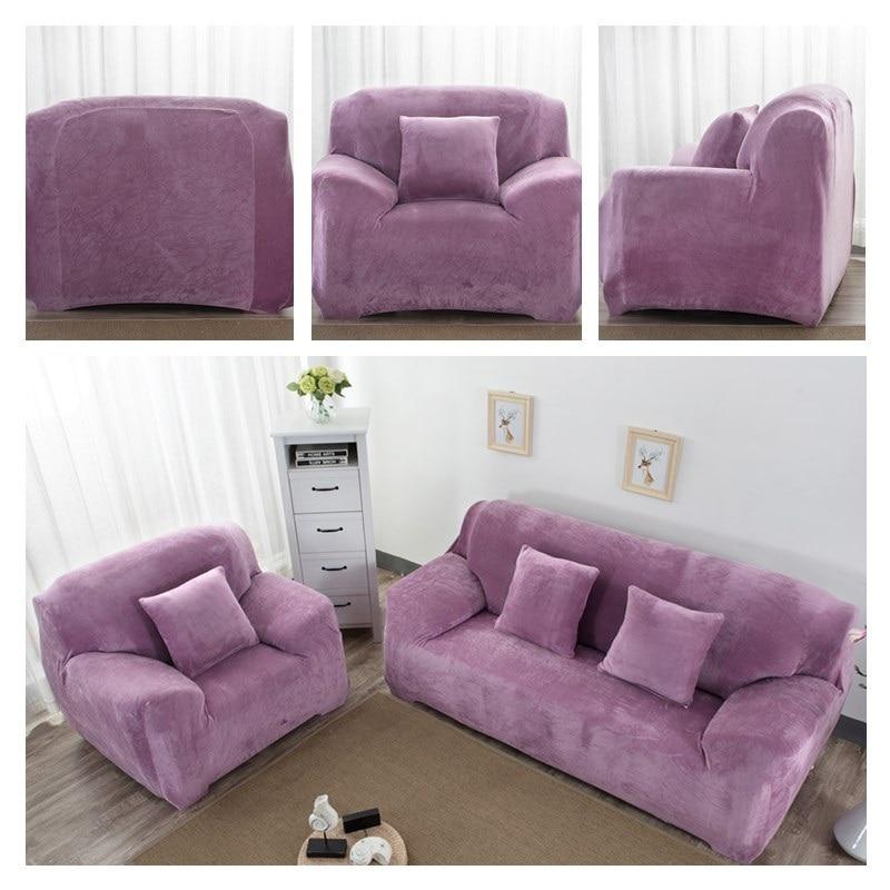 Wliarleo Velvet Sofa Cover Thick Plush Fabric Slip Resistant Purple For Couch Slipcover Elastic Towel Home