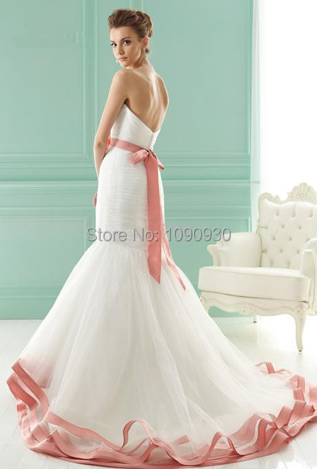 2015 New Elegant Sweetheart Mermaid Wedding Dresses Flower Sash ...