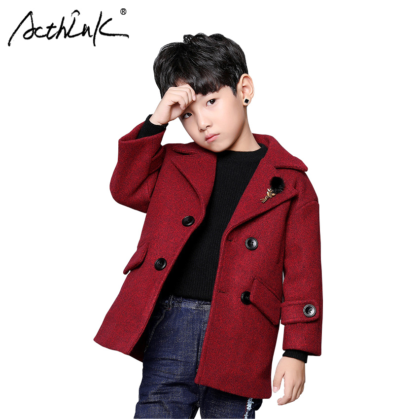 ActhInK New Boys Long Suits Blazer Jacket England Style Boys Winter Woolen Blends Children Winter Wind Coat Boys Chic Outerwear