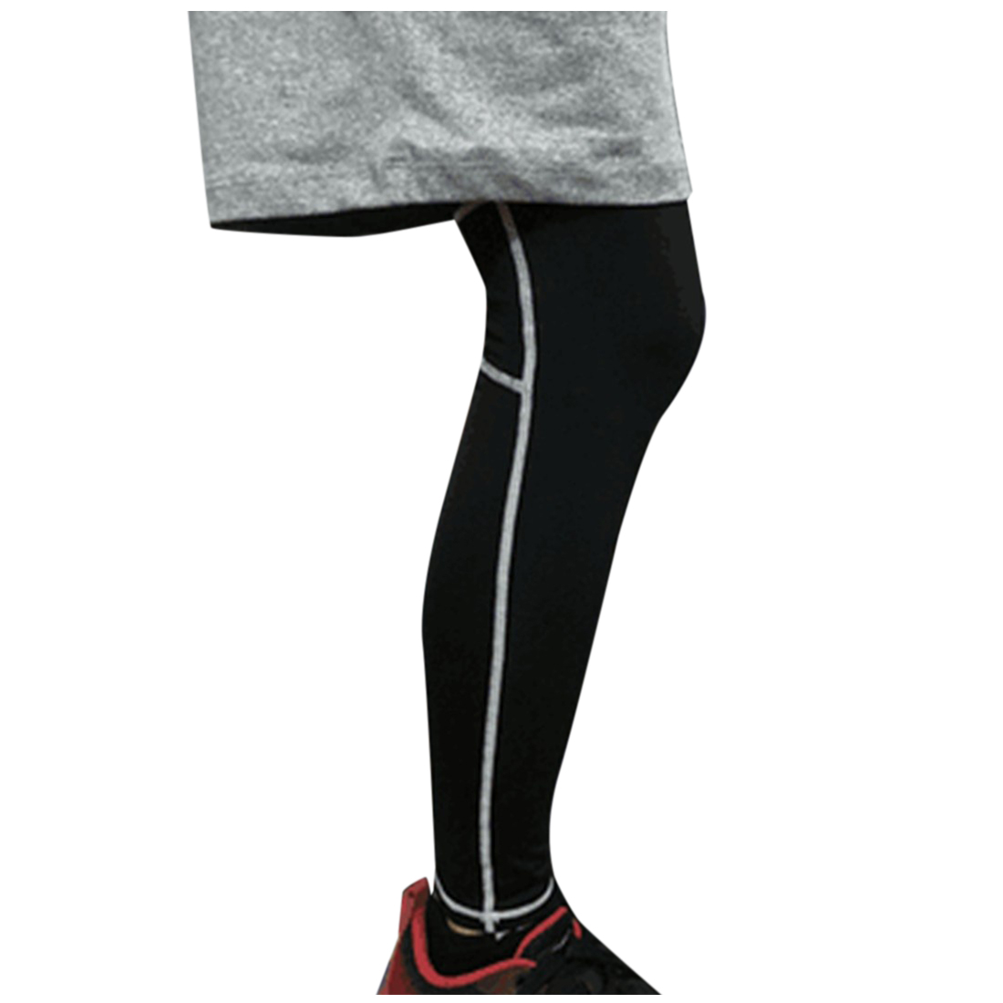 Unisex Running Sports Compression Knee Leg Calf Support Stretch Brace Long Sleeve Protector Wrap Black white