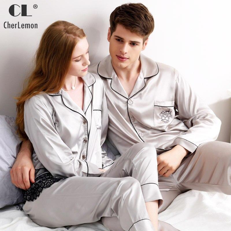 CherLemon Brand Pajamas Couple Spring Luxurious Silk Satin Sleepwear Women Lace Embroidery Hem Homewear Mens Dust Grey Sleep Set