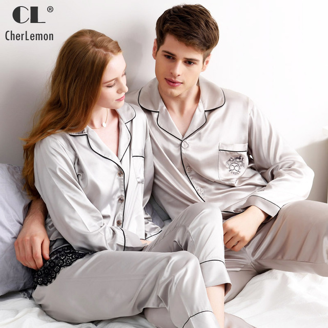 052c720abe CherLemon Brand Pajamas Couple Spring Luxurious Silk Satin Sleepwear Women  Lace Embroidery Hem Homewear Mens Dust Grey Sleep Set