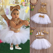Платье для принцессы комплекты одежды для маленьких девочек жилеты-топы с блестками юбки-пачки милая повязка на голову с бантом комплект одежды для девочек из 3 элементов