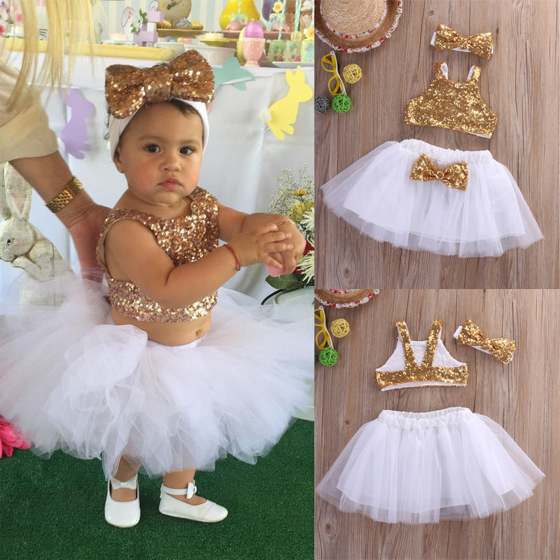 Princess Toddler Kids Baby Girl Clothes Sets Sequins Tops Vest Tutu Skirts Cute Ball Headband 3pcs Outfits Set Girls Clothing 2016 new fashion boutique outfits for omika baby girls sets with 2 pcs cute print long sleeve tops bow tutu skirts size 4 12y
