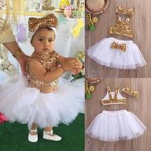 Princess Toddler Kids Baby Girl Clothes Sets Sequins Tops Ve