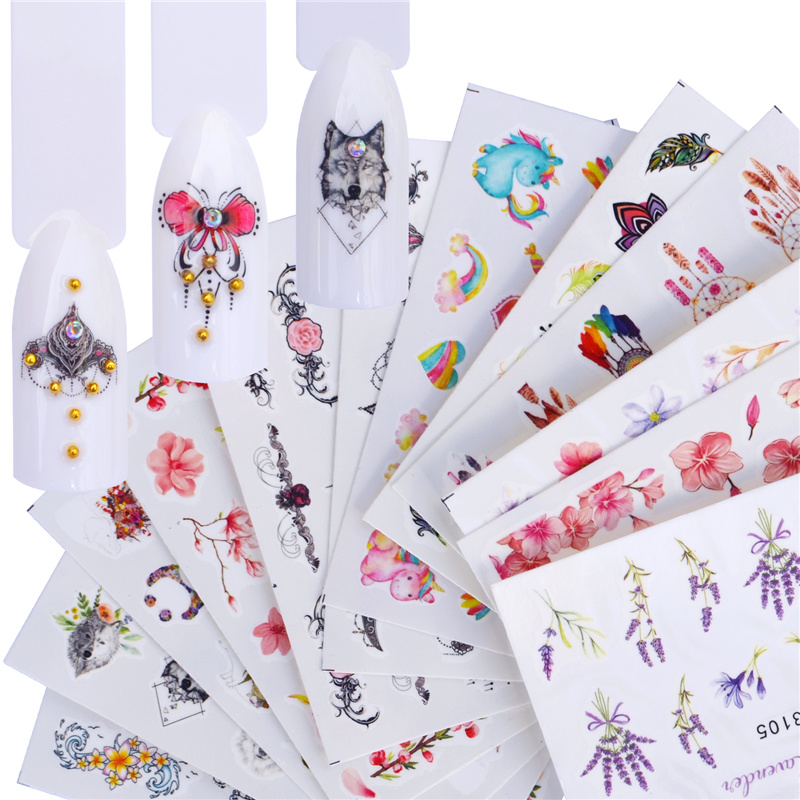 WUF 20 Designs 2020 Colorful Mixed Blossomed Flower Nail Art Sticker Tips Water Decals Manicure Full Slider