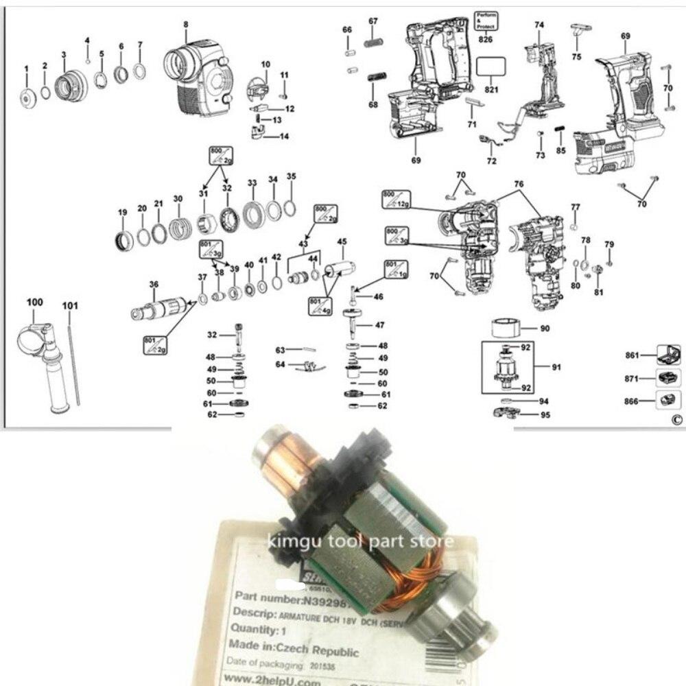 18V-20V ARMATURE  Rotor Motor  For Dewalt N392987 DCH253 DCH254 DCH253M2 DCH254M2 DCH253KN