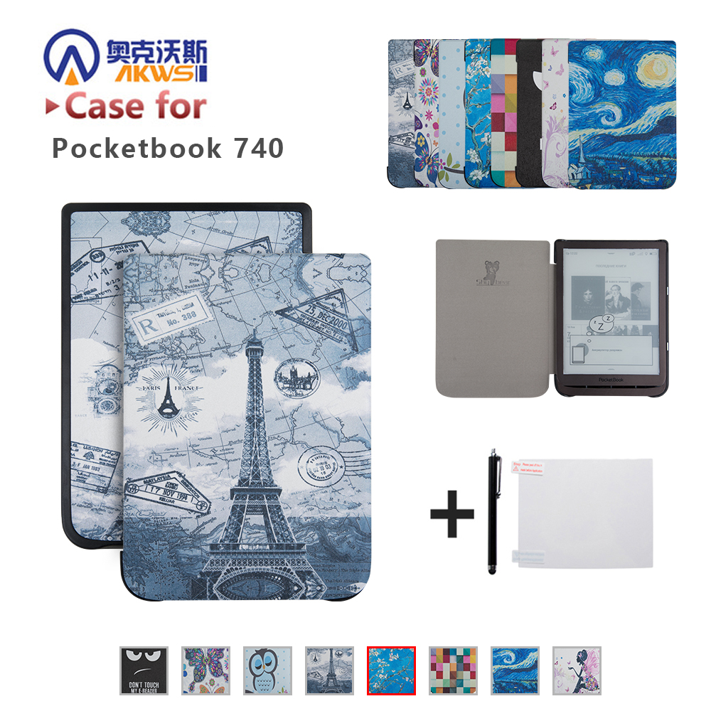 Silk Printing Book Cover Case for PocketBook 740 InkPad 3 7.8 Inch E-Book+gift prohibited book 3