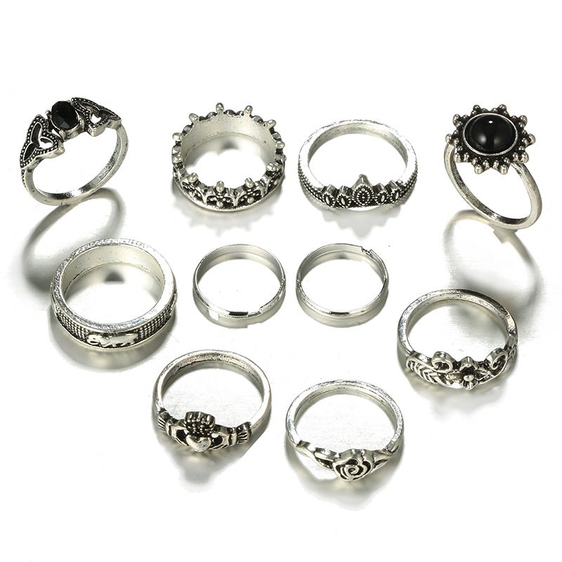 HuaTang Bohemian Antique Silver Ring Geometric Elephant Flower Green Rhinestone Knuckle Rings Midi Finger Anel Rings Jewelry 60