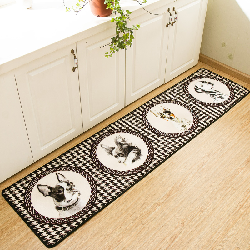 Tapis de cuisine pied-de-poule Wang Star tapis et tapis de chambre motif chien tapis de porte coulissante environnement créatif tapis de balcon