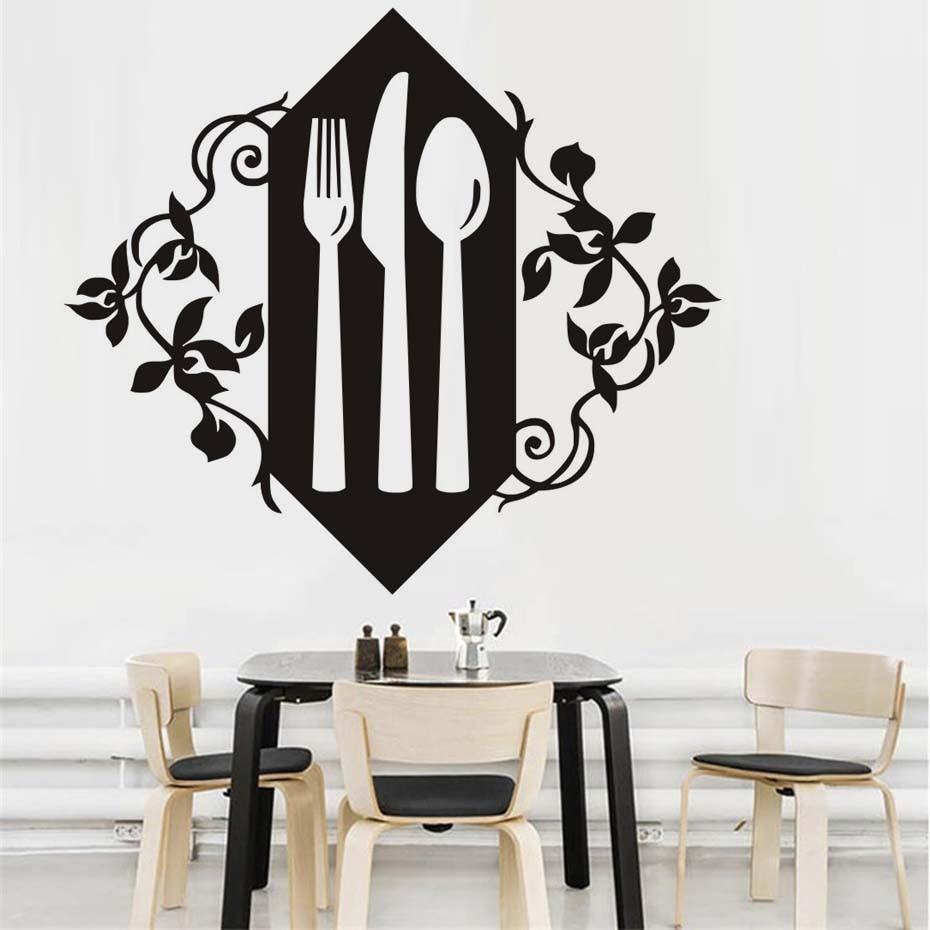 Creative Kitchen Wall Decor: Knife Fork Spoon Vinyl Wall Decals Creative Art Kitchen Wall Stickers Waterproof Art Vinyl Decal