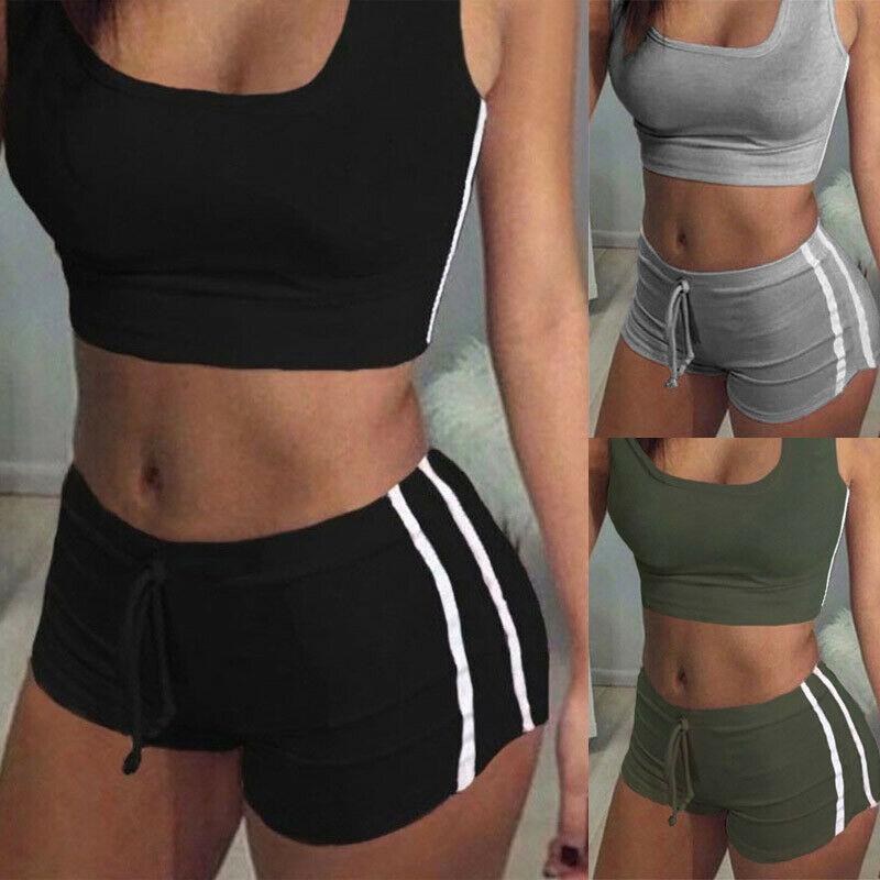 USA Women Sport Bra Yoga Set Gym Running Sportwear Suit Fitness Clothing Workout