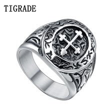 TIGRADE Cool Cross Ring Men Punk Biker Stainless Steel Rings Vintage Jewelry Hiophop Rock Male Fashion Bands For Party