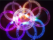 50pcs/lot colorful changing LED bracelet Light up Bracelet flashing Acrylic glowing toys party decoration supplies