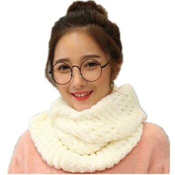 зимний модный вязаный шарф снуд для женщин однотонные теплые шарфы