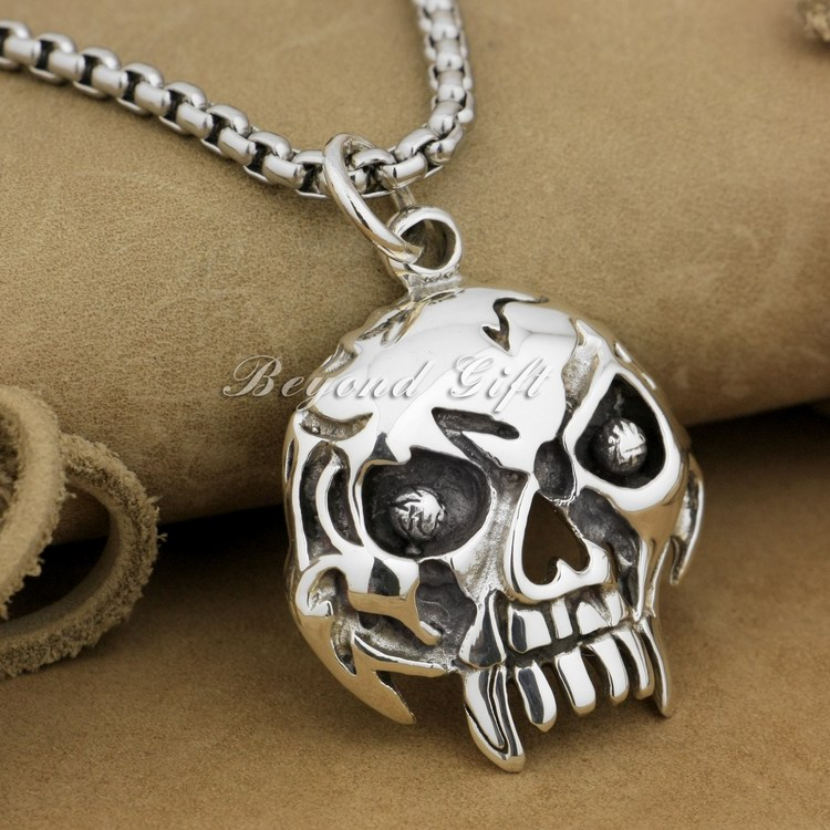 Huge Heavy Skull Mens 925 Sterling Silver Biker Rocker Punk Pendant 9R009(Necklace 24inch) 925 sterling silver crescent moon skull mens biker rocker punk pendant 9v010 free shipping