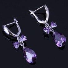 Good-Looking Water Drop Purple Cubic Zirconia 925 Sterling Silver Dangle Earrings For Women V0774
