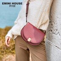 Эмини дом разделение кожа седельный наплечный мешок женский манжет одноцветное цвет сумки через плечо для женщин известный бренд женщина ...