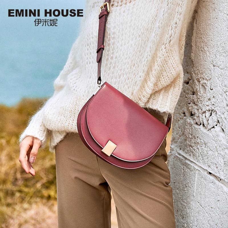 EMINI MAISON Split Selle En Cuir Épaule Sac Femelle Rabat Solide Couleur Bandoulière Sacs Pour Femmes célèbre marque femme sacs 2018