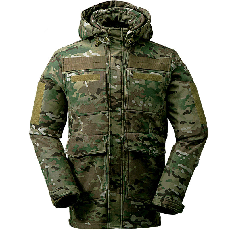 Outdoor waterproof camping tactical softshell fleece jacket men camouflage sports camo hiking hunting mail multi pocket clothes