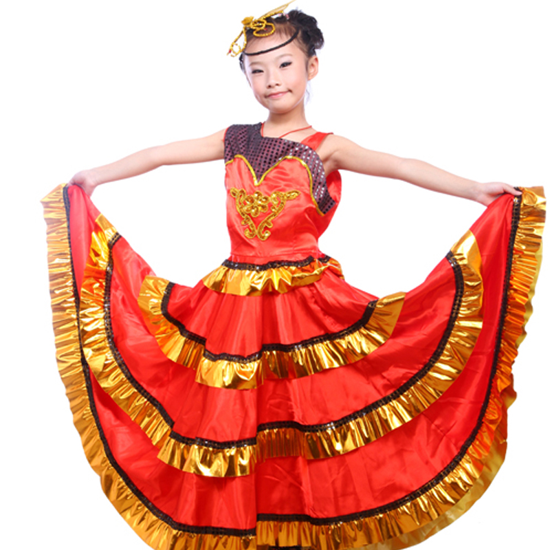 b0378dd16 110 150cm Kidu0027s Flamenco Dance Dress Spanish Paso Doble Dance Costume  Girls Flamenco Dancewear For Girl-in Flamenco From Novelty U0026 Special  Use On ..