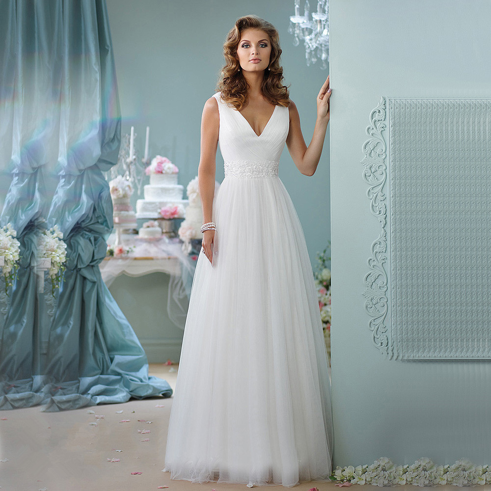 Wedding Dress 2017 Simple Beach Boho Elegant V Neck Cap Sleeves Lace ...