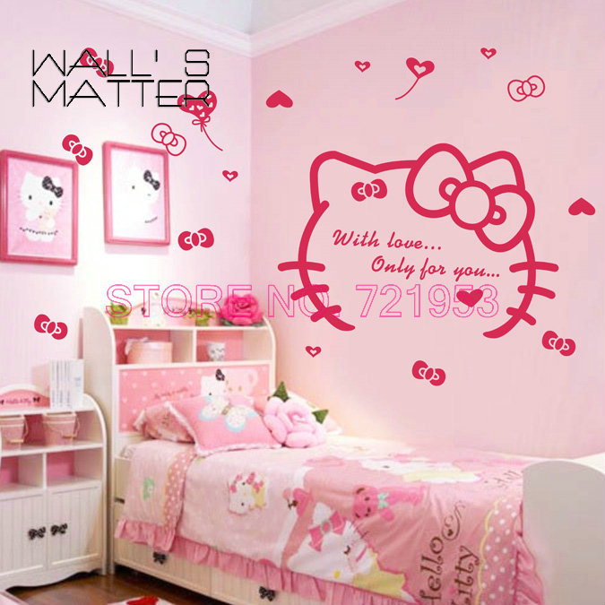hello kitty we love you wall stickers home decoration diy vinyl wall art wall decals free. Black Bedroom Furniture Sets. Home Design Ideas