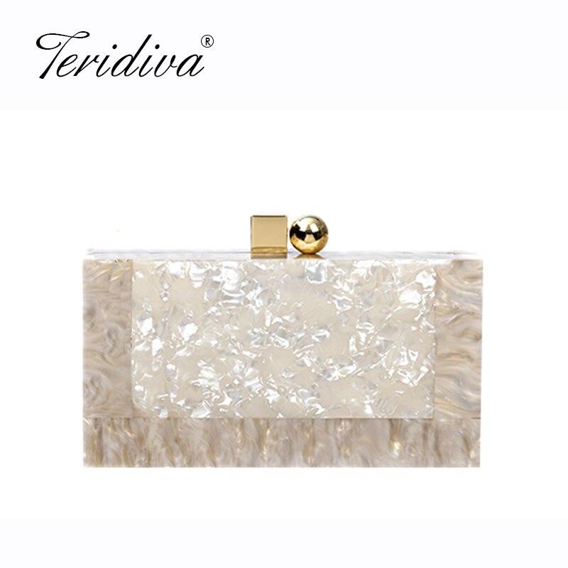 Fashion Handbags Messenger-Bags Chain Clutch-Box Acrylic Wedding Party Evening Women