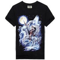 Hot Sale 2017 Rocksir Brand Clothing 3D Print Horse Indian T Shirts O Neck Short Sleeve
