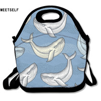 MEETSELF 3D Print Colorful Whale Patterns Lunch Bags Insulated Waterproof Food Bag Girl Packages Womens Kids Babys Boys Handbags