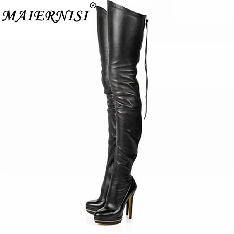 2019 Women Boots Stretch PU Leather Over The Knee High Sexy Ladies Party High Heels Platform Shoes Woman Black Plus Size 34-46 2017 women boots stretch pu leather over the knee high sexy ladies party high heels platform shoes woman black plus size 43