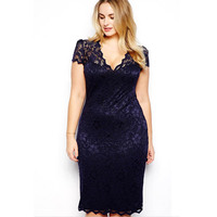 HY89 New Style Women Summer Dress Plus Size 3XL Sexy Pencil Bodycon Dress Short Sleeve V