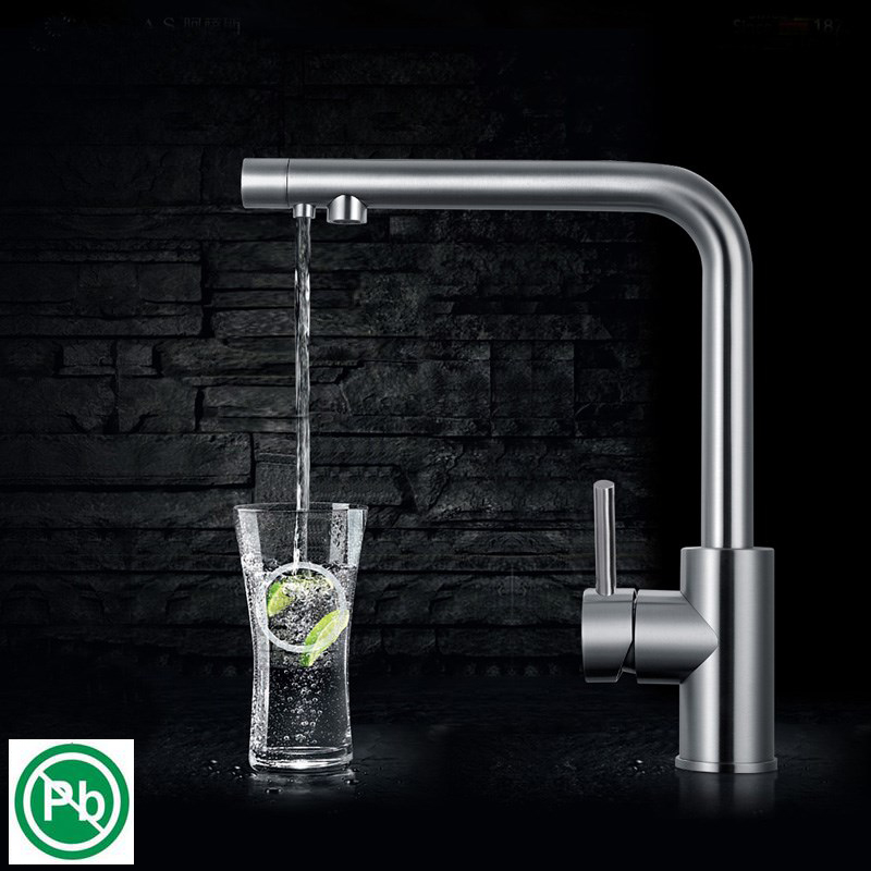 Nickel Brushed Kitchen Faucet 3 Way Drinking Water Filter 360 Degree Rotation Water Purification Features Double Handle цена и фото