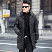 Leather Jacket Sheepskin Genuine Leather Jacket Men Winter Duck Down Coat Mens Leather Jacket Chaqueta Cuero Hombre 855608 YY703(China)