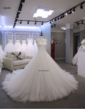 Real photo Robe De Mariage 2017 Vestidos de Noiva Vestidos De Novia A Linha Branca Querida Custom Made Com Apliques de Renda