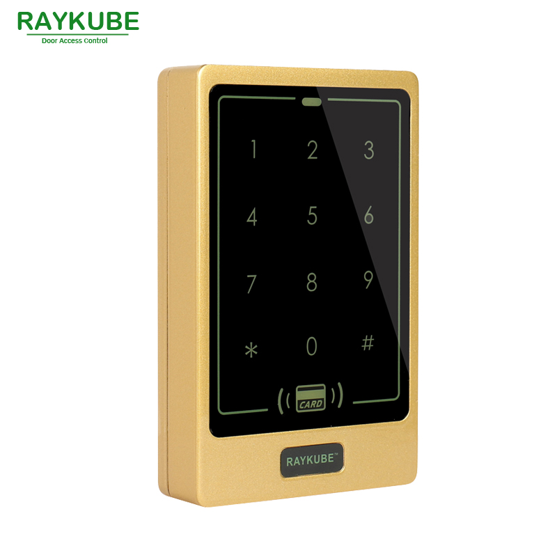 RAYKUBE Door Access Password Keypad Waterproof IPX3 RFID 125HKz Card Reader For Door Access Control System R-T02 Glod good quality metal case face waterproof rfid card access controller with keypad 2000 users door access control reader