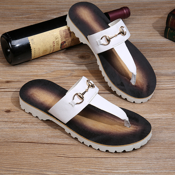 Flip-flops for men's new style beach drag men's casual hair stylist han version trend casual wear white leather sandals
