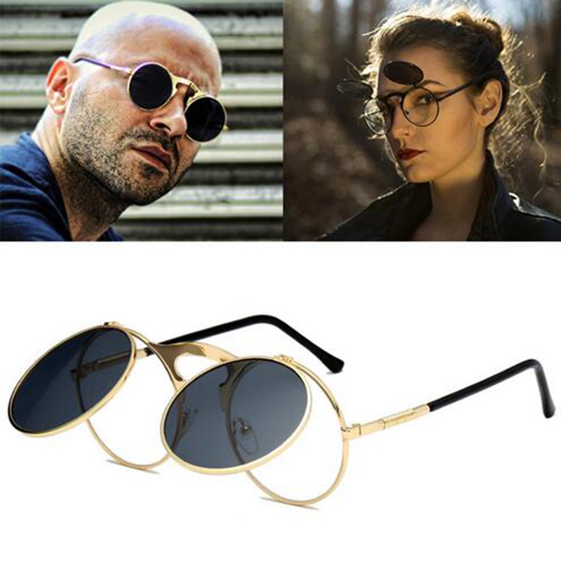 Cool Retro Gothic Steampunk Glasses Women Men Sunglasses Coating Mirrored Sunglasses Round Circle Gafas oculos de sol in Women 39 s Sunglasses from Apparel Accessories