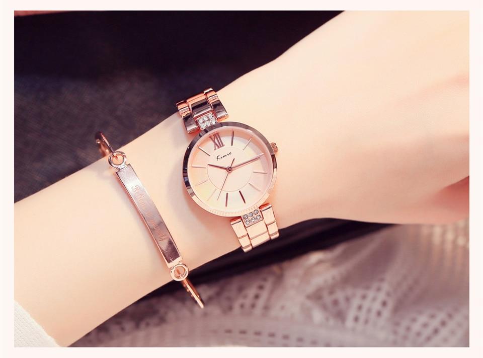 KIMIO Thin Clock Women Fashion Simple Watches Rhinestones Dress Woman Watch Rose Gold Quartz Ladies Women's Watch Wristwatch 15