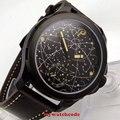 Мужские часы из нержавеющей стали с созвездием parnis 44 мм  чехол Корпус из ПВД кожи  сапфировое стекло  светящиеся часы 6498 с ручным намоткой