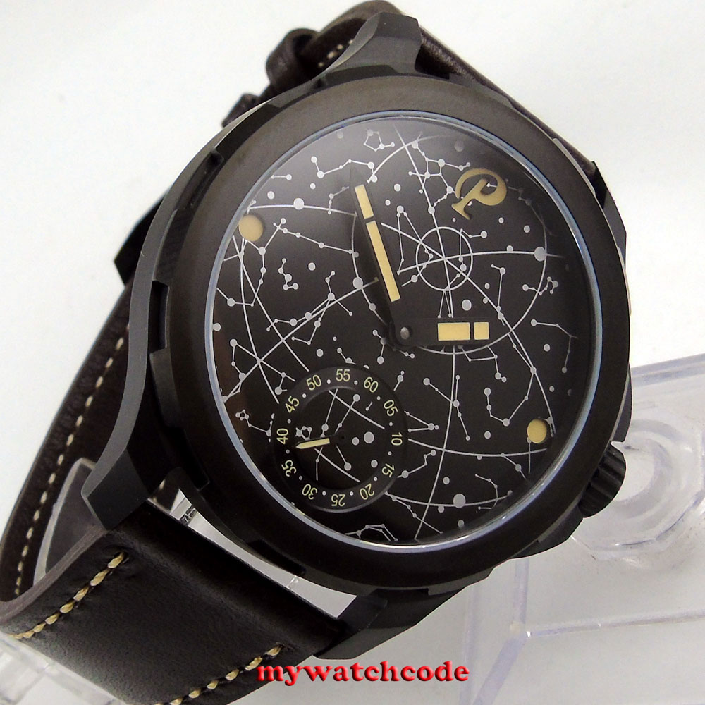 new arrive 44mm mens parnis constellation stainless black PVD Case Leather Sapphire glass Luminous 6498 hand Winding uhr Watch nahemah nahemah a new constellation
