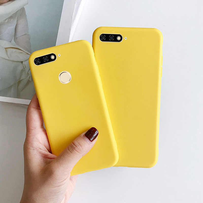 Yellow Candy Matte Clear TPU Case For Huawei Honor 5A LYO-L21 6A 6C Pro 7A 7C 7S 8 Lite 8C 8S 8A 8X Max Anti-knock Rubber Cover