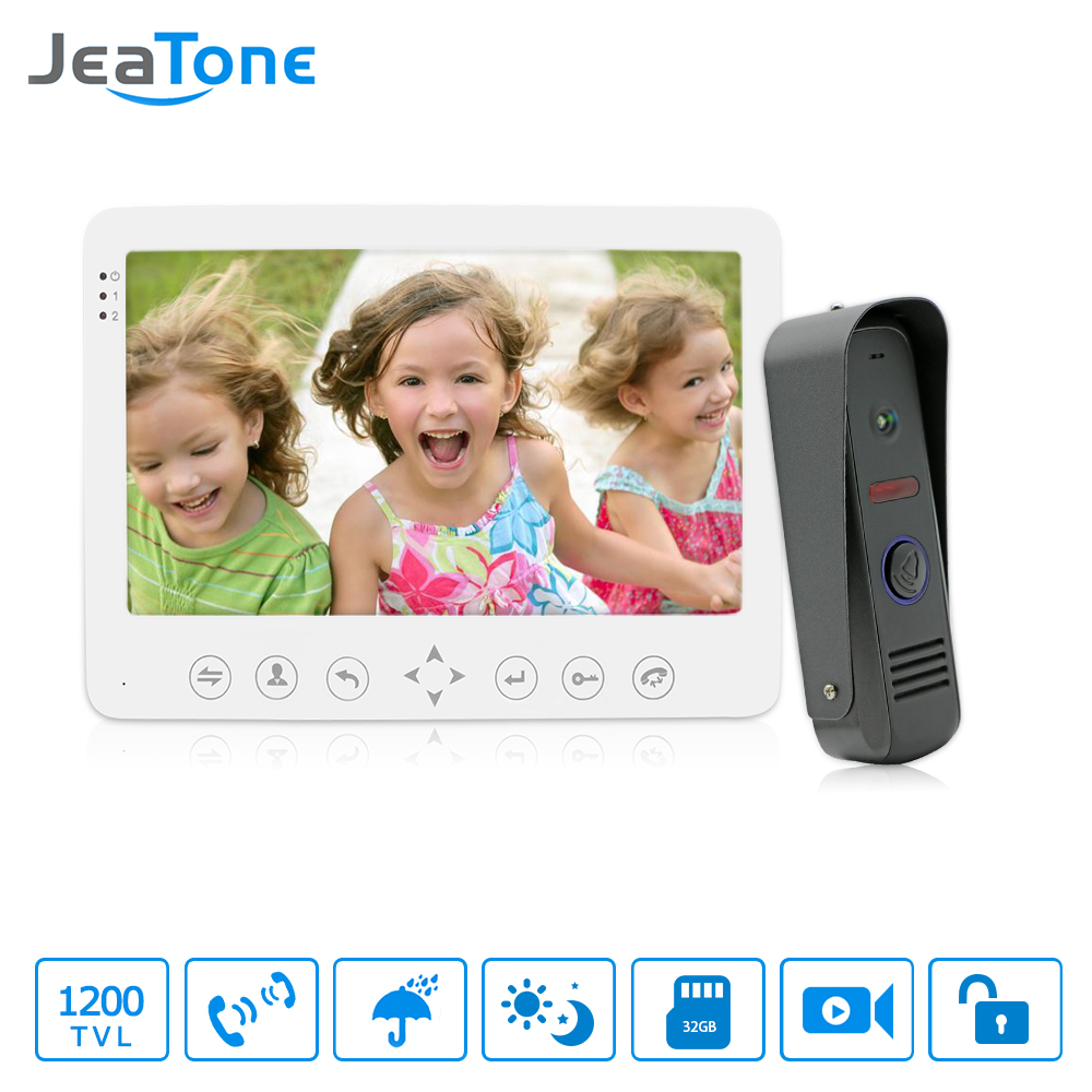 JeaTone 7 Inch HD 1200TVL Video Door Phone System 1 IR Night Doorbell Camera and 1 Touch Button Hands-free Monitor Intercom Kit jeatone 7 inch wired video door phone doorbell intercom touch button monitor 1200tvl waterproof security camera call panel